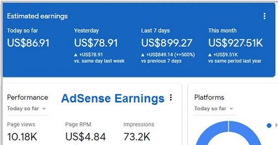 Example AdSense Earnings