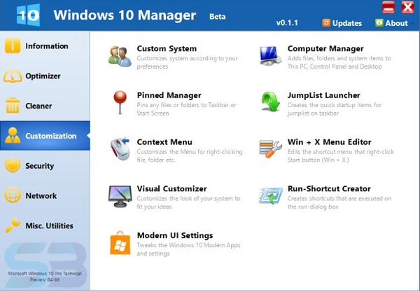 Portable Yamicsoft windows 10 manager